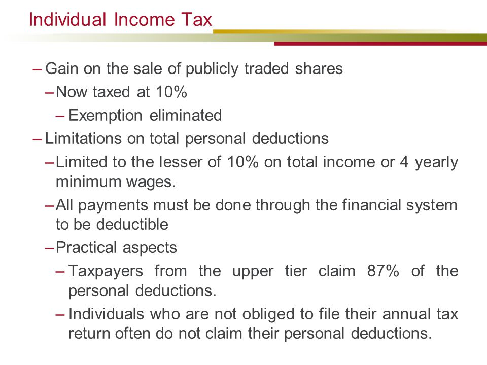 Individual Income Tax Gain on the sale of publicly traded shares