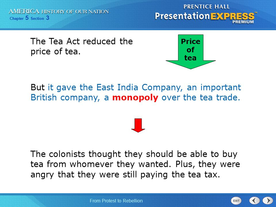 The Tea Act reduced the price of tea.