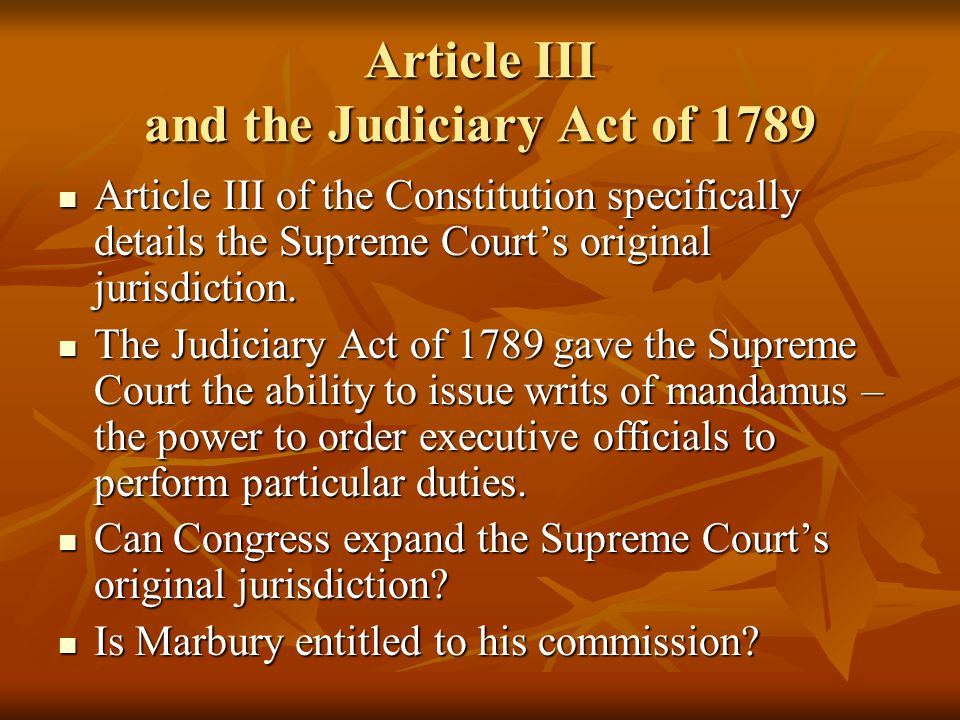 Article III and the Judiciary Act of 1789