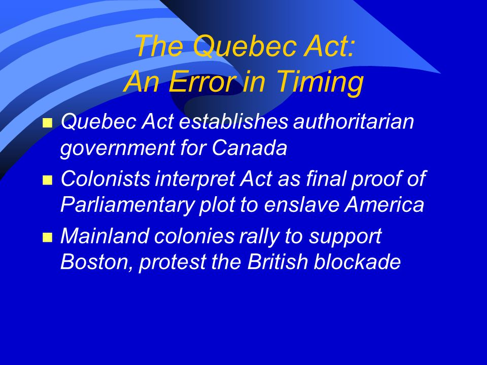 The Quebec Act: An Error in Timing