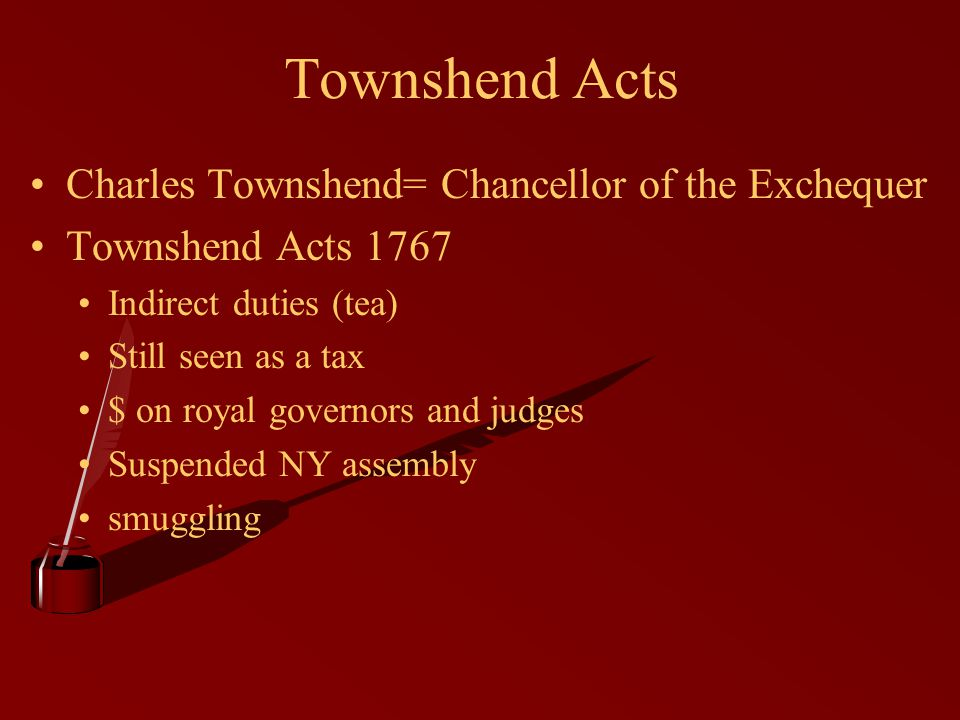 Townshend Acts Charles Townshend= Chancellor of the Exchequer