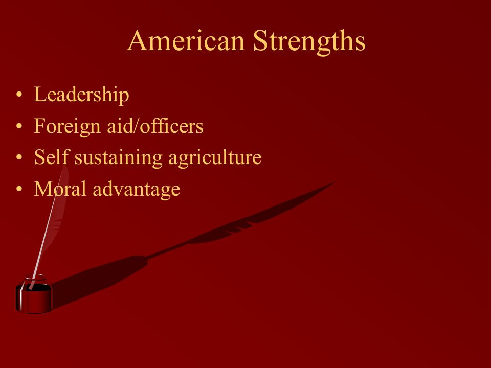 American Strengths Leadership Foreign aid/officers