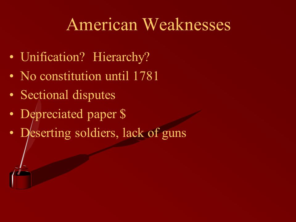 American Weaknesses Unification Hierarchy No constitution until 1781