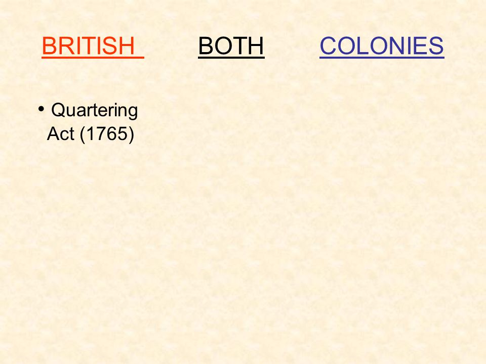 BRITISH BOTH COLONIES Quartering Act (1765)
