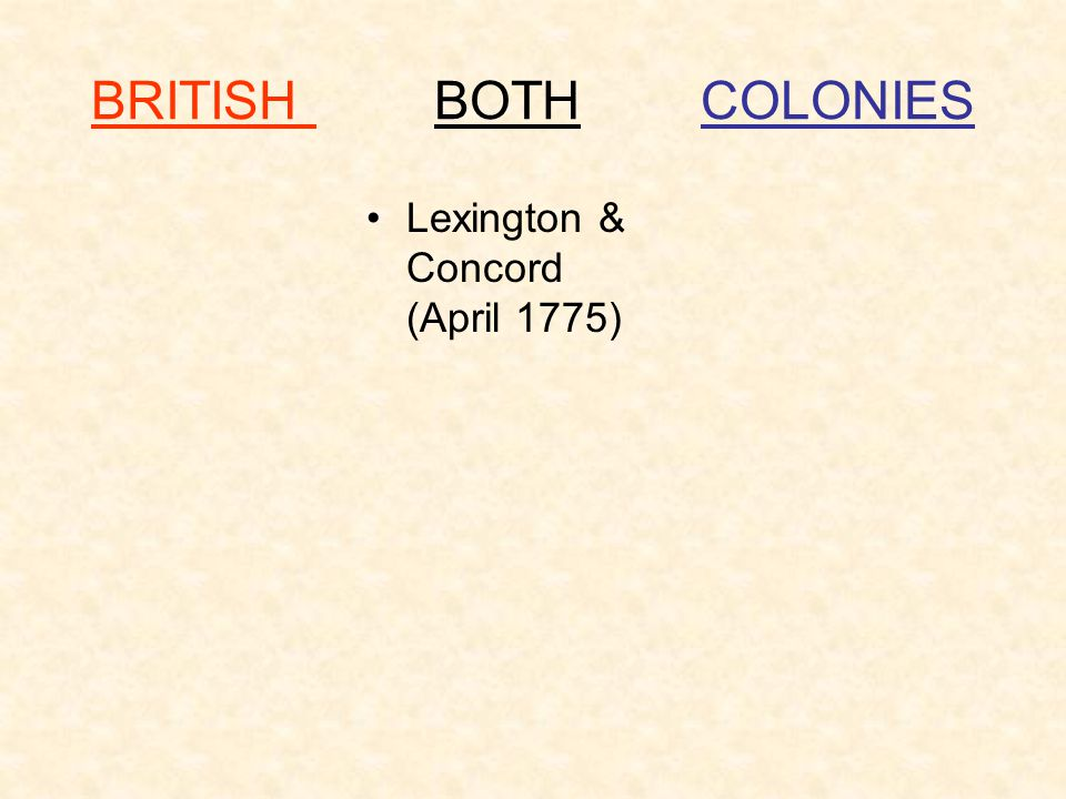 BRITISH BOTH COLONIES Lexington & Concord (April 1775)