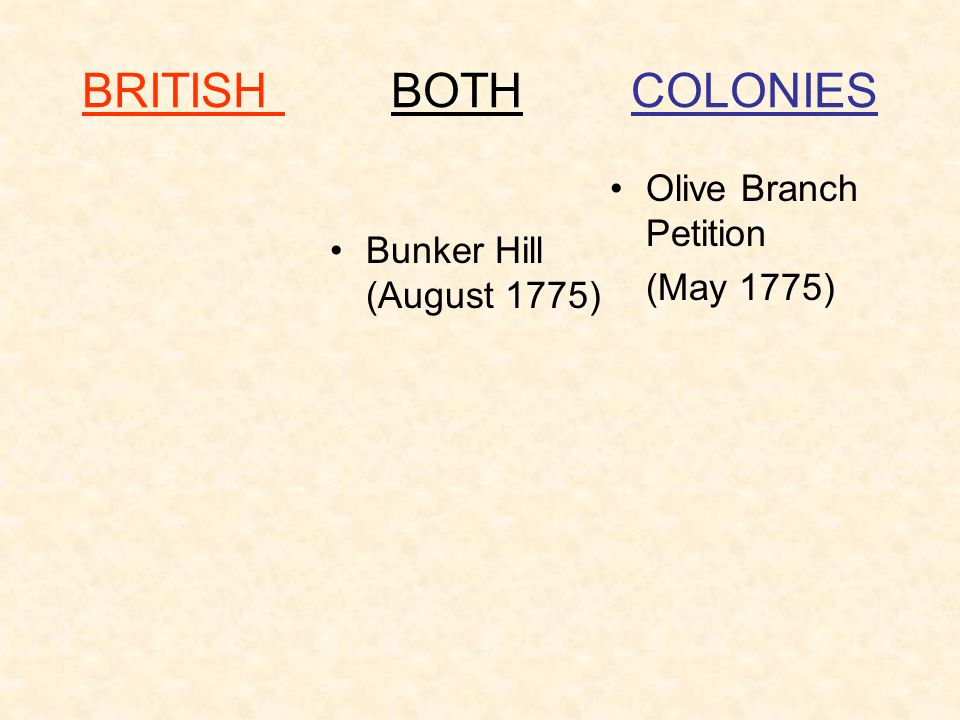 BRITISH BOTH COLONIES Olive Branch Petition Bunker Hill (August 1775)