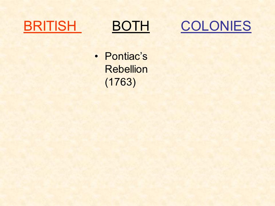 BRITISH BOTH COLONIES Pontiac's Rebellion (1763)