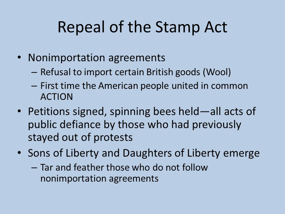 Repeal of the Stamp Act Nonimportation agreements