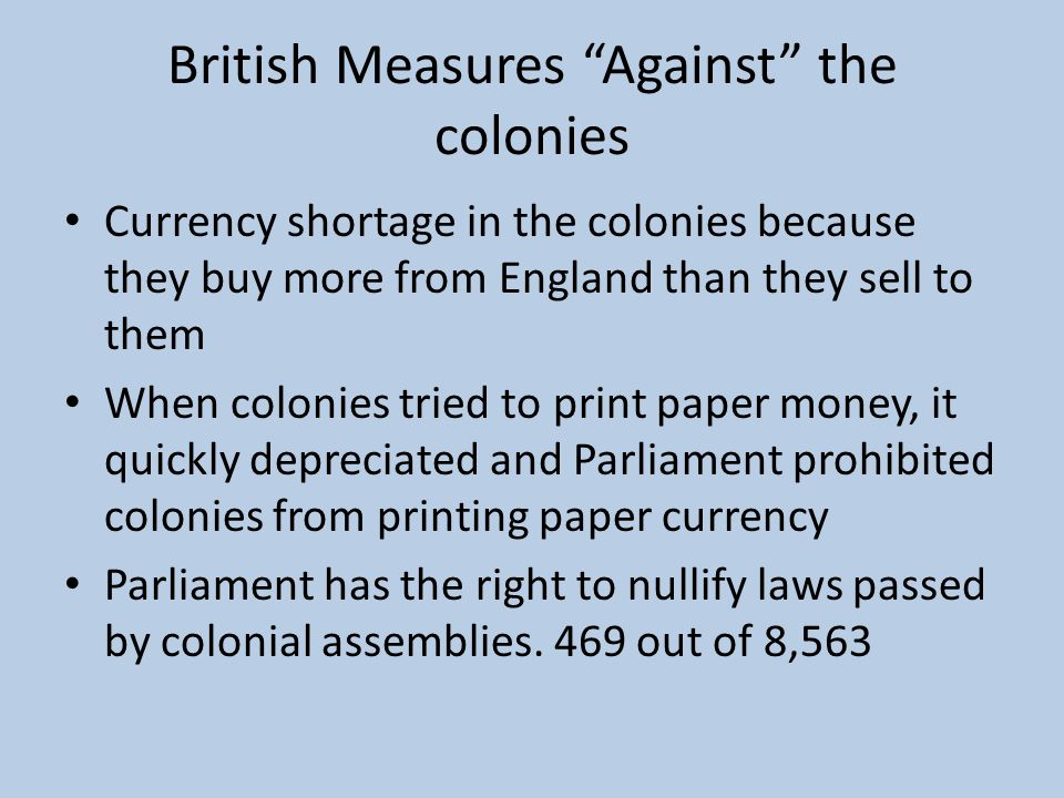 British Measures Against the colonies