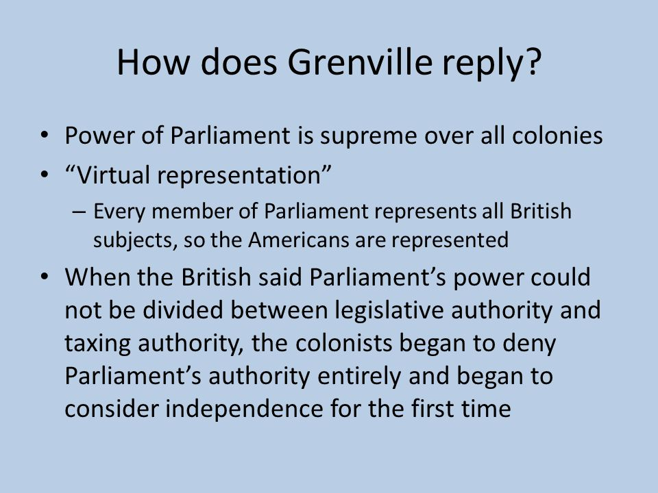 How does Grenville reply