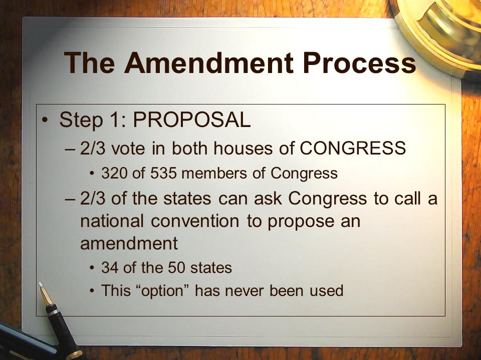 The Amendment Process Step 1: PROPOSAL