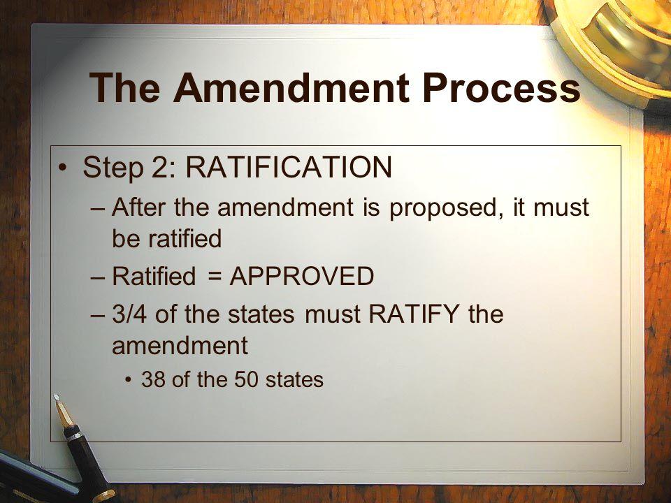 The Amendment Process Step 2: RATIFICATION