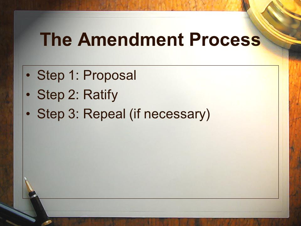 The Amendment Process Step 1: Proposal Step 2: Ratify