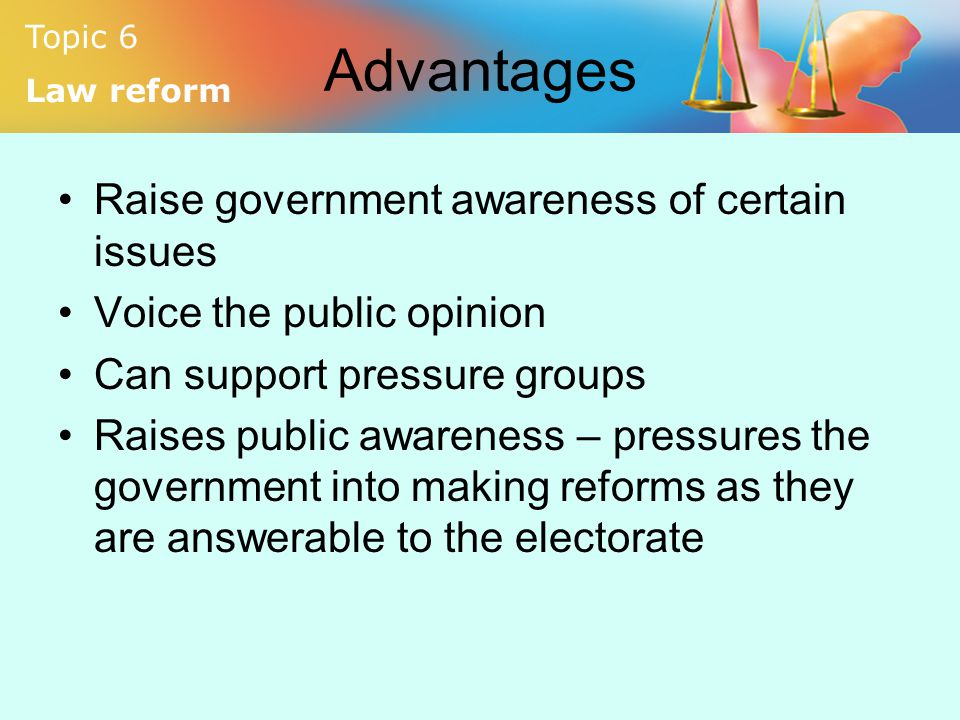 Advantages Raise government awareness of certain issues