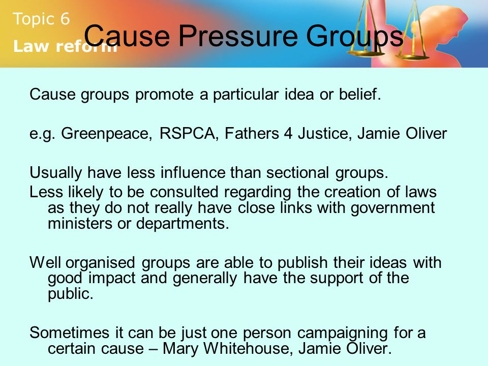 Cause Pressure Groups Cause groups promote a particular idea or belief. e.g. Greenpeace, RSPCA, Fathers 4 Justice, Jamie Oliver.