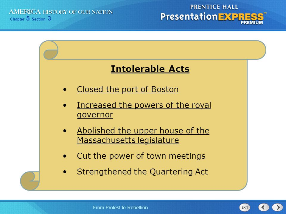 Intolerable Acts Closed the port of Boston