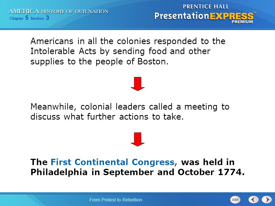 Americans in all the colonies responded to the Intolerable Acts by sending food and other supplies to the people of Boston.