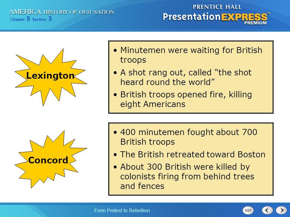 Lexington Concord Minutemen were waiting for British troops