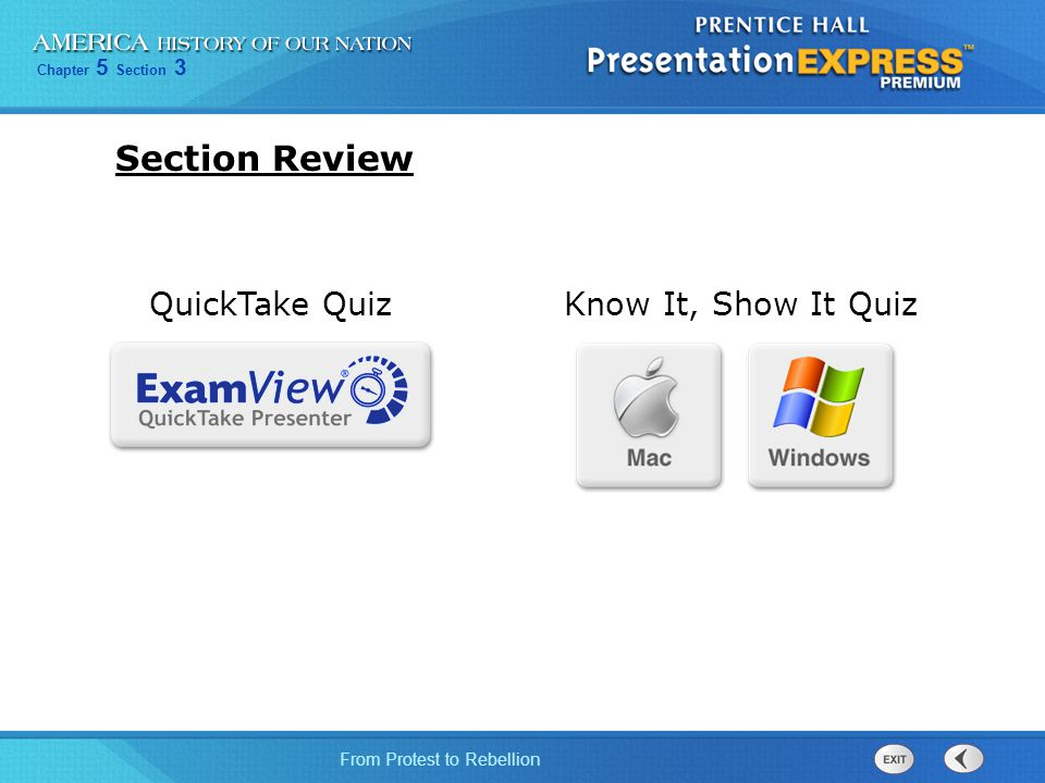 Section Review QuickTake Quiz Know It, Show It Quiz 28