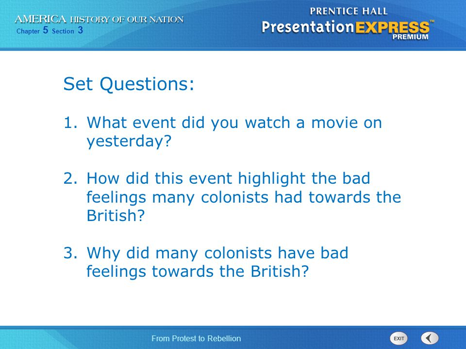 Set Questions: What event did you watch a movie on yesterday