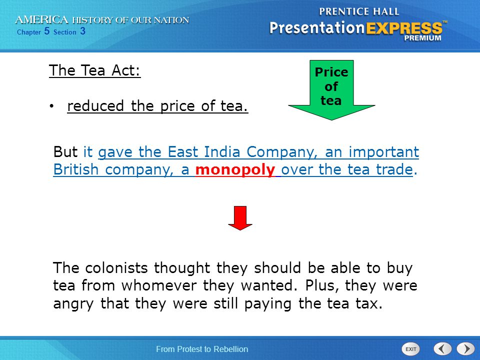 reduced the price of tea.