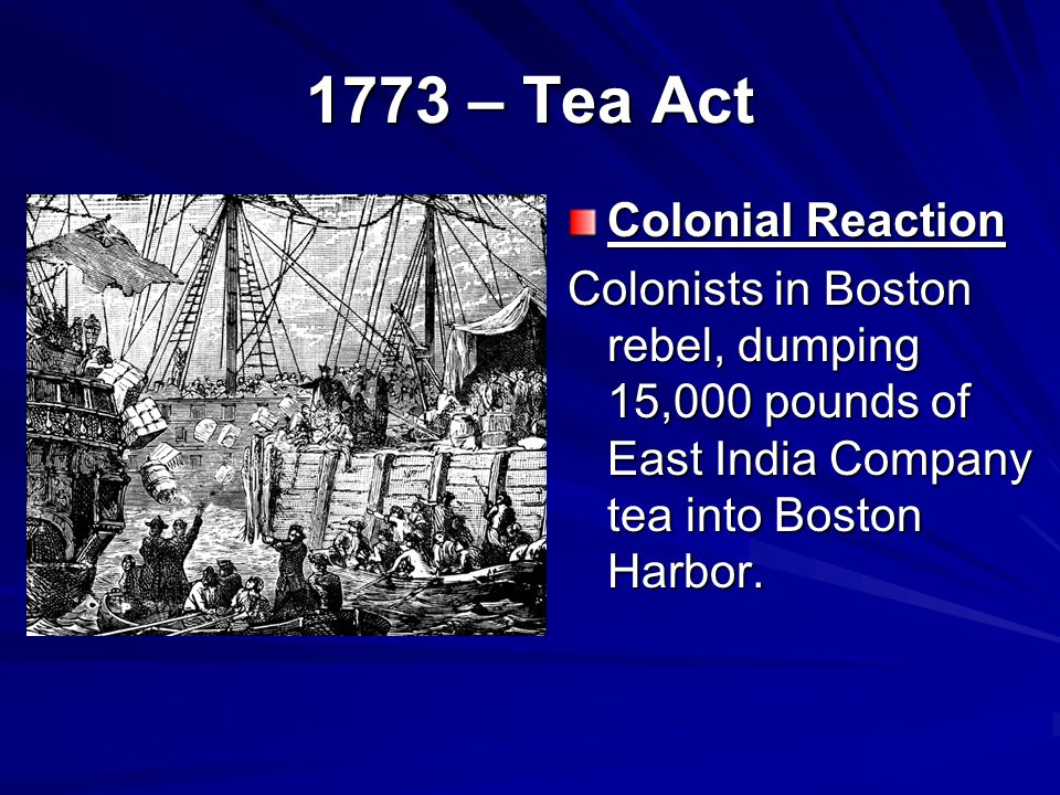 1773 – Tea Act Colonial Reaction