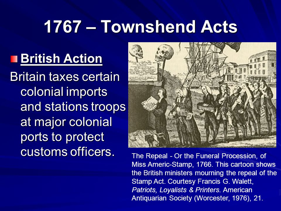 1767 – Townshend Acts British Action