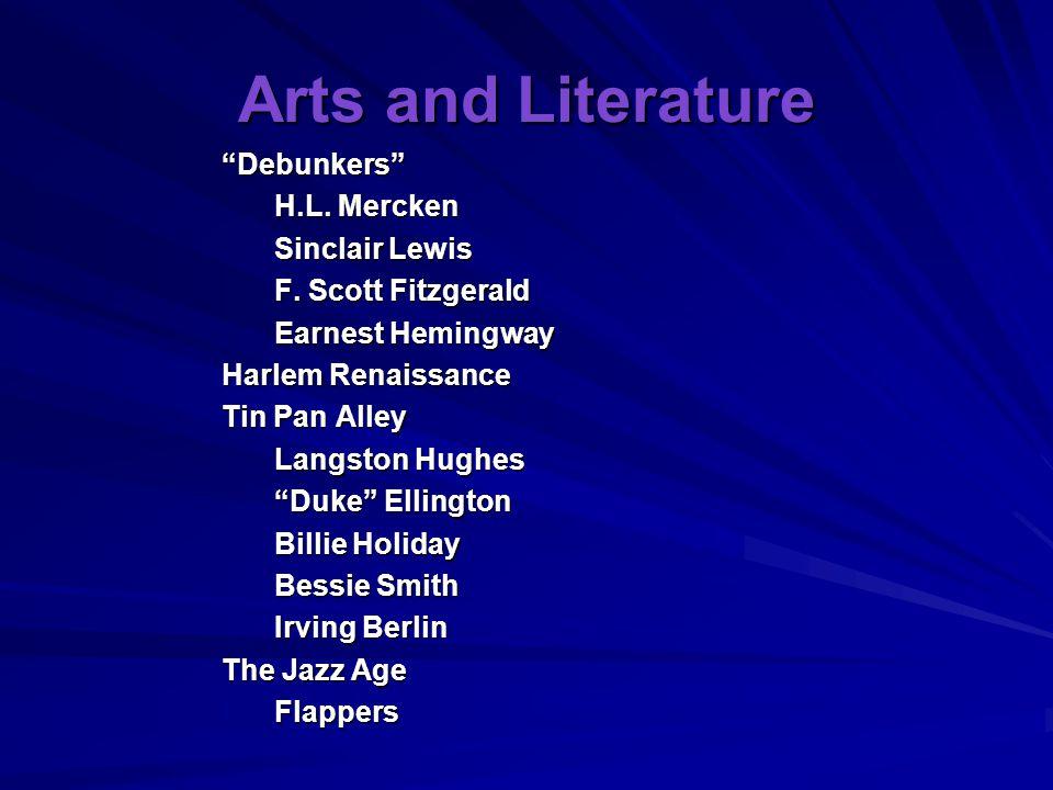 Arts and Literature Debunkers H.L. Mercken Sinclair Lewis