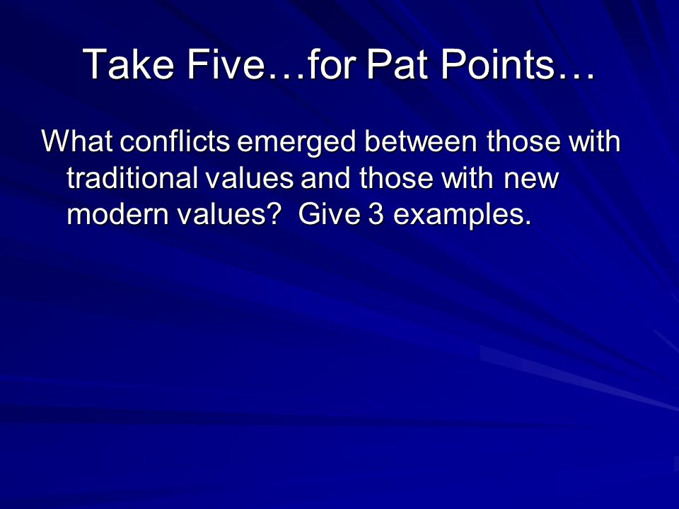Take Five…for Pat Points…