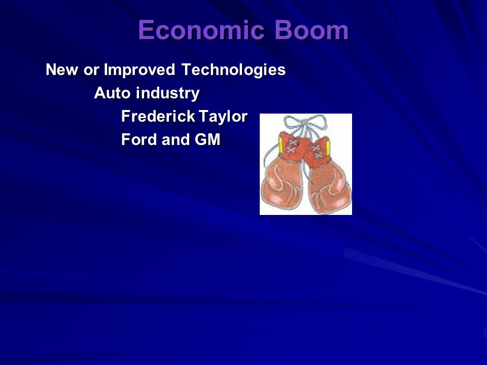 Economic Boom New or Improved Technologies Auto industry
