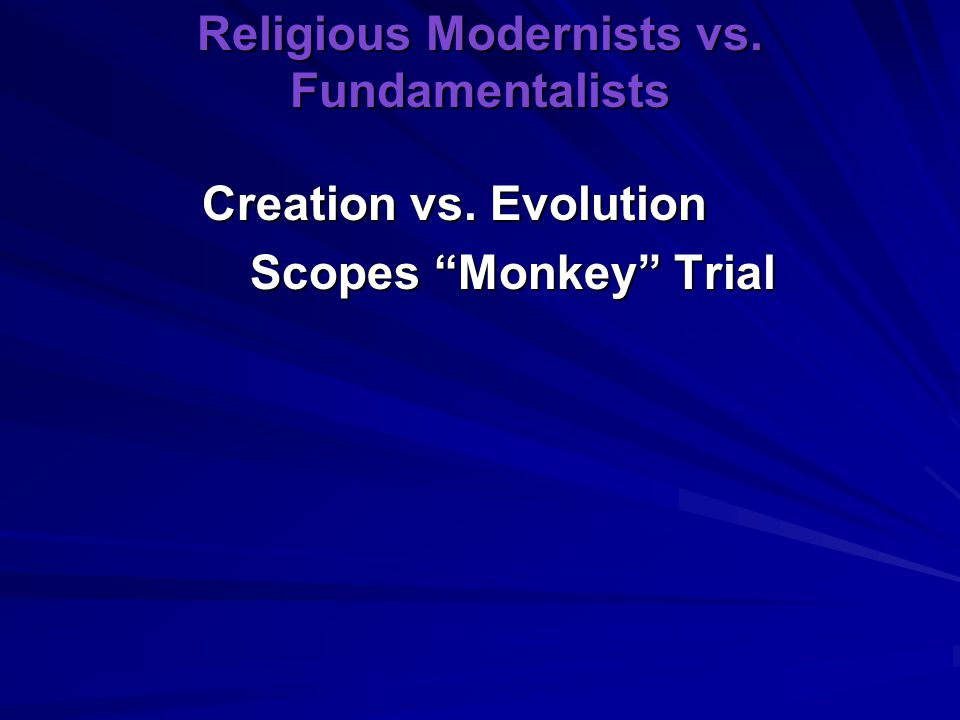 Religious Modernists vs. Fundamentalists