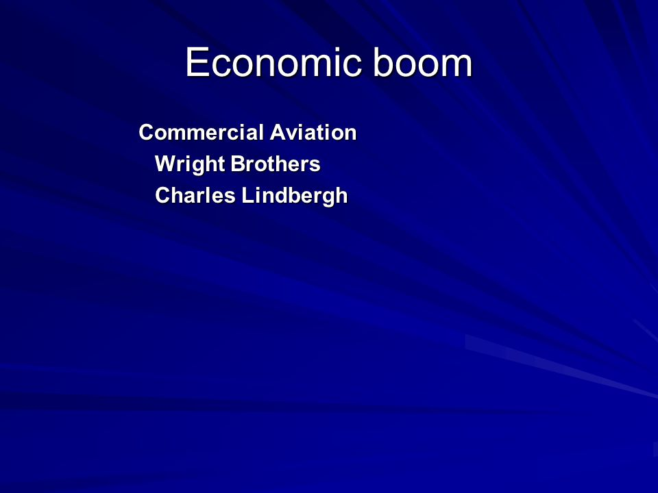 Economic boom Commercial Aviation Wright Brothers Charles Lindbergh