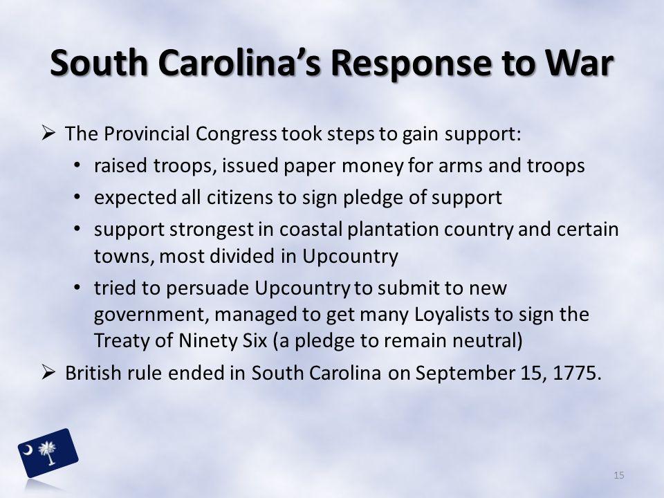South Carolina's Response to War