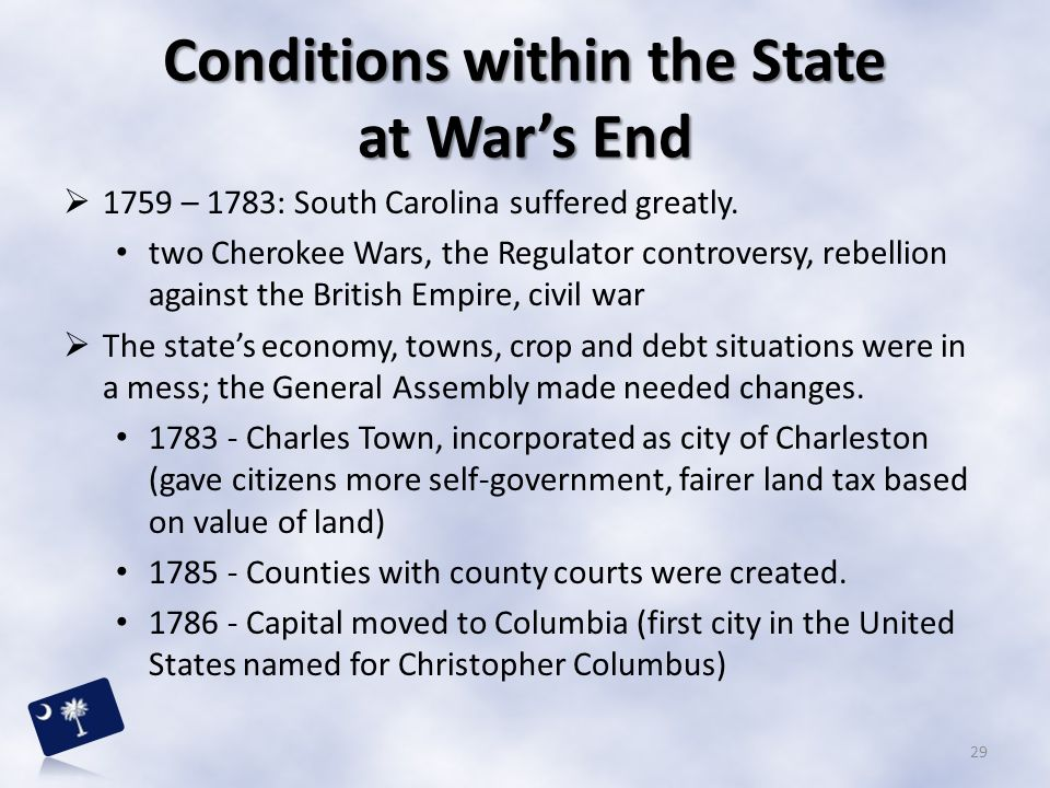 Conditions within the State at War's End