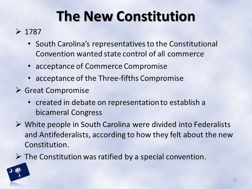 The New Constitution 1787. South Carolina's representatives to the Constitutional Convention wanted state control of all commerce.