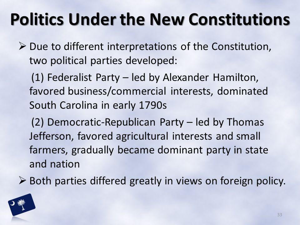 Politics Under the New Constitutions