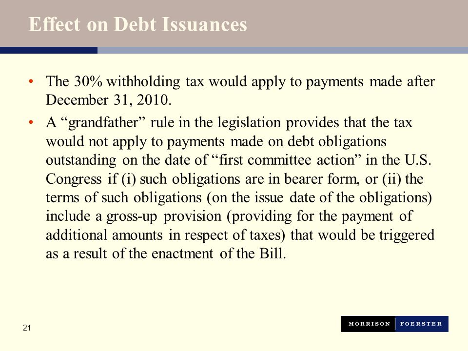 Effect on Current Debt Issuances