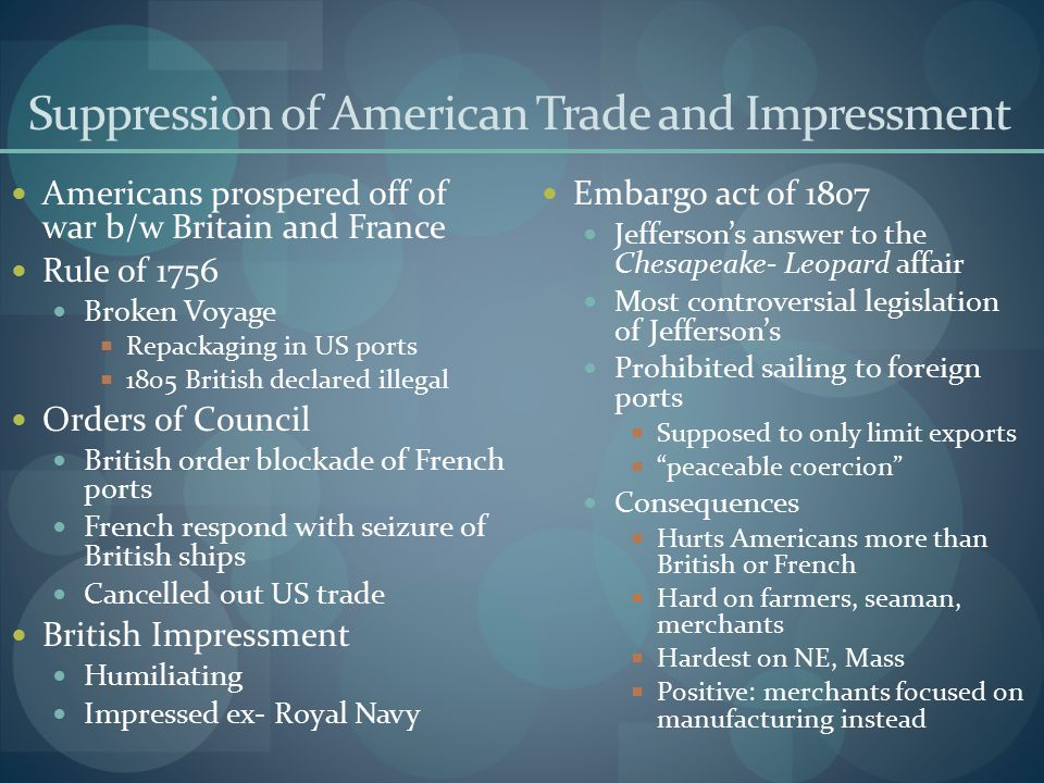 Suppression of American Trade and Impressment