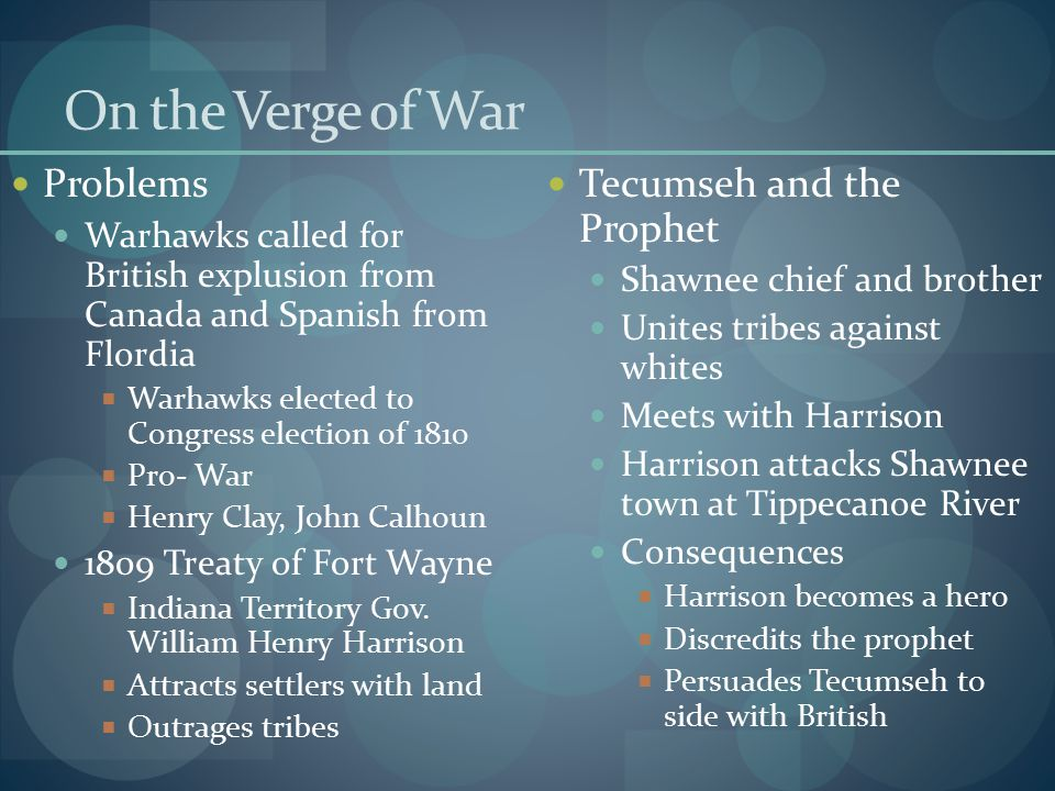 On the Verge of War Problems Tecumseh and the Prophet