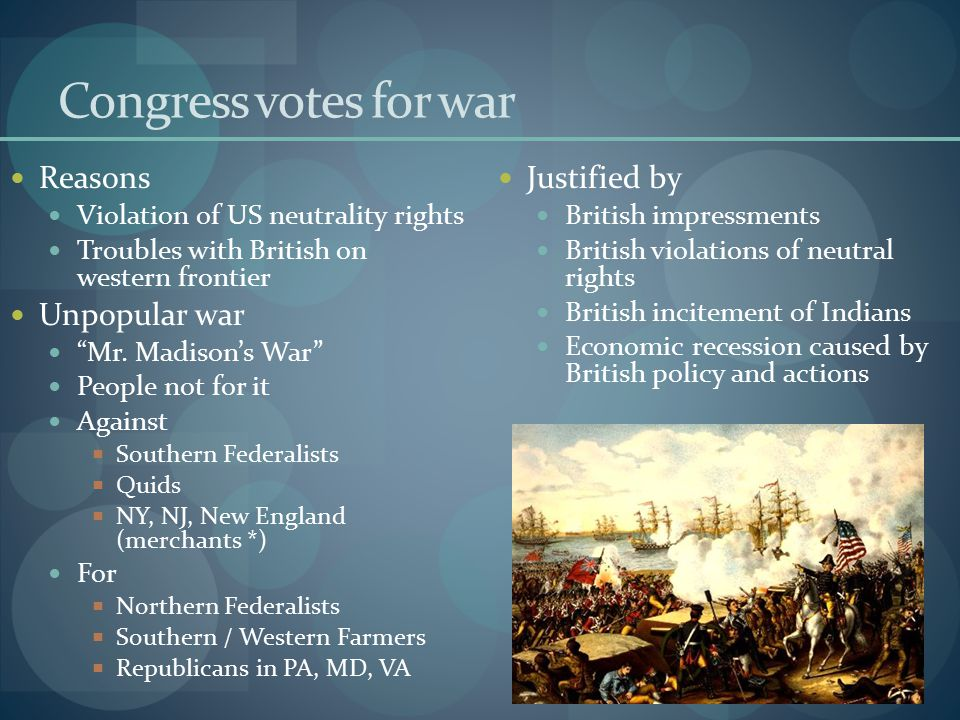 Congress votes for war Reasons Unpopular war Justified by