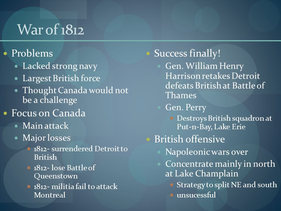 War of 1812 Problems Focus on Canada Success finally!
