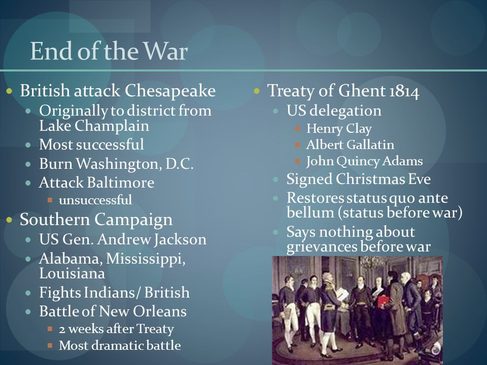 End of the War British attack Chesapeake Southern Campaign