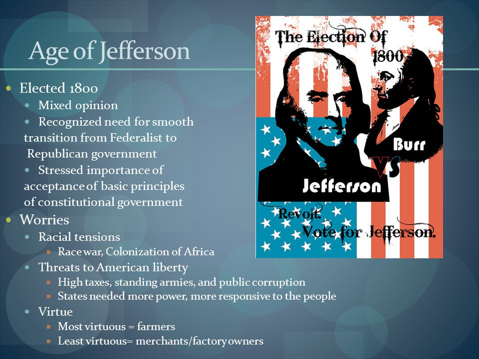 Age of Jefferson Elected 1800 Worries Mixed opinion
