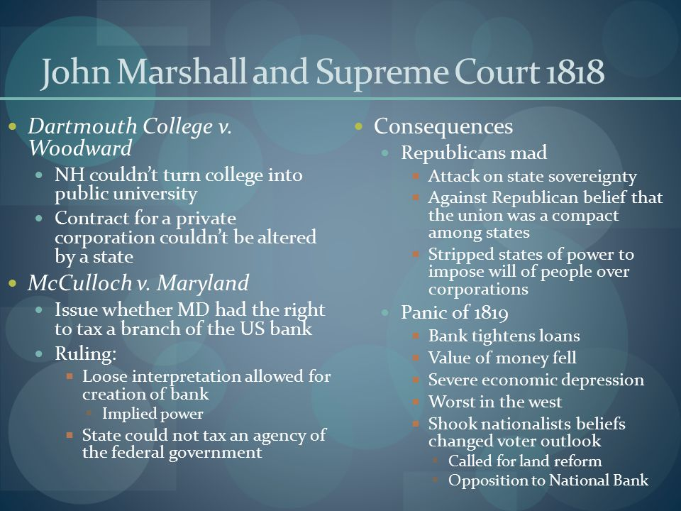 John Marshall and Supreme Court 1818