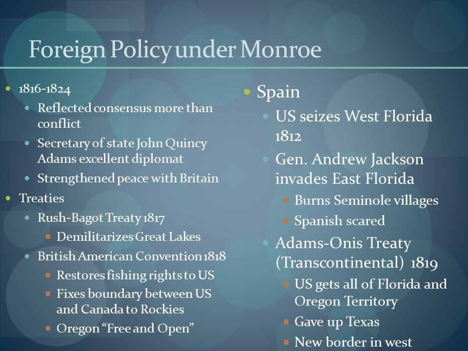 Foreign Policy under Monroe