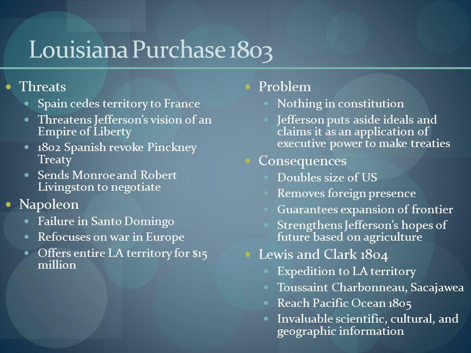 Louisiana Purchase 1803 Threats Napoleon Problem Consequences