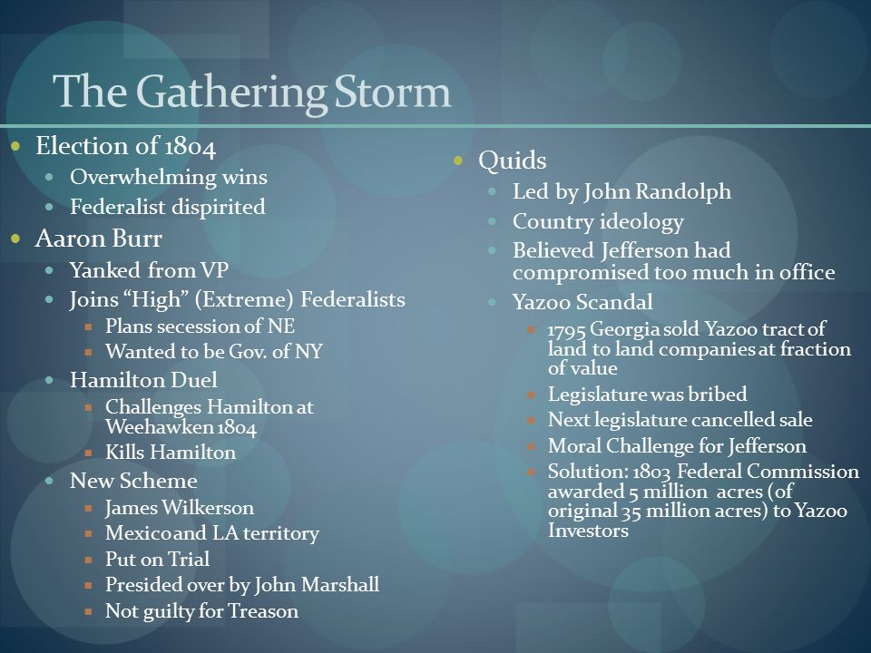 The Gathering Storm Election of 1804 Quids Aaron Burr