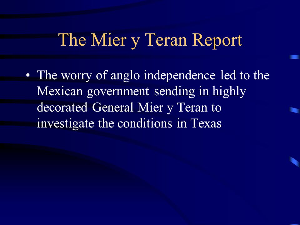 The Mier y Teran Report
