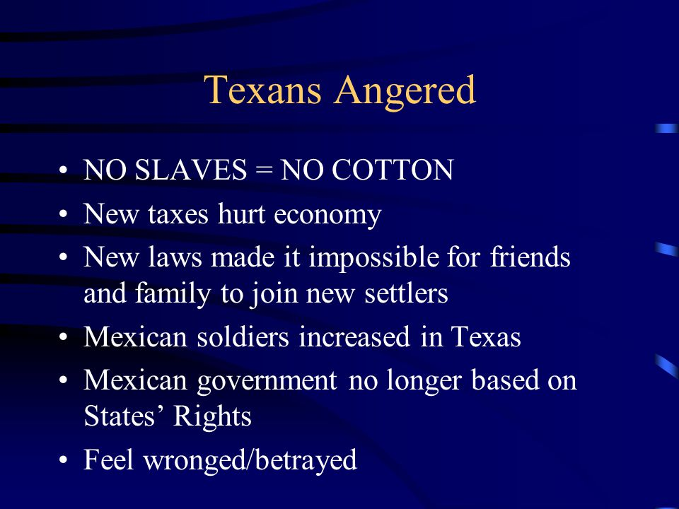 Texans Angered NO SLAVES = NO COTTON New taxes hurt economy