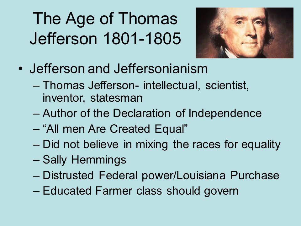 The Age of Thomas Jefferson 1801-1805